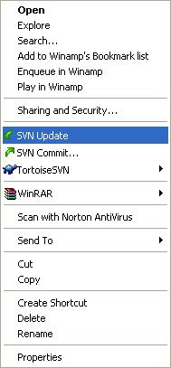 SVN Update menu